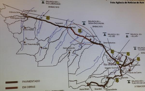 Brasil - Rota das Fronteiras  / Uma Saga pela Amazônia Mapa-acre-obras