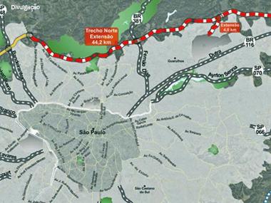 Obras do Rodoanel Norte em SP vão atrasar pelo menos 2 anos