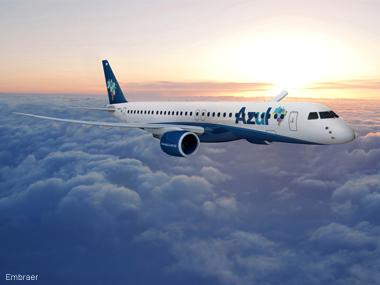 Embraer e Azul firmam acordo para venda de 30 jatos E195-E2