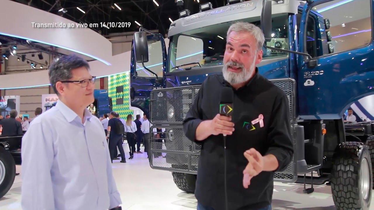Estande da Volkswagen Caminhões e Ônibus na Fenatran 2019 homenageou as cores do Brasil