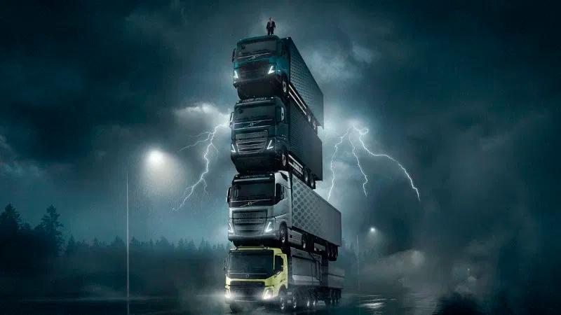 Uma torre de caminhões Volvo na Europa